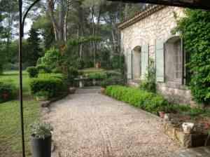 French villa courtyard