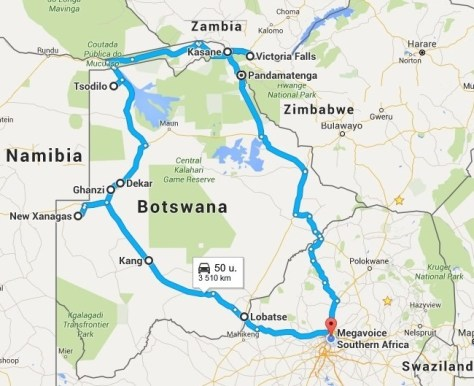 Bibles 4 Christmas Outreach2Africa - MegaVoice Route detail 20151211-20151223