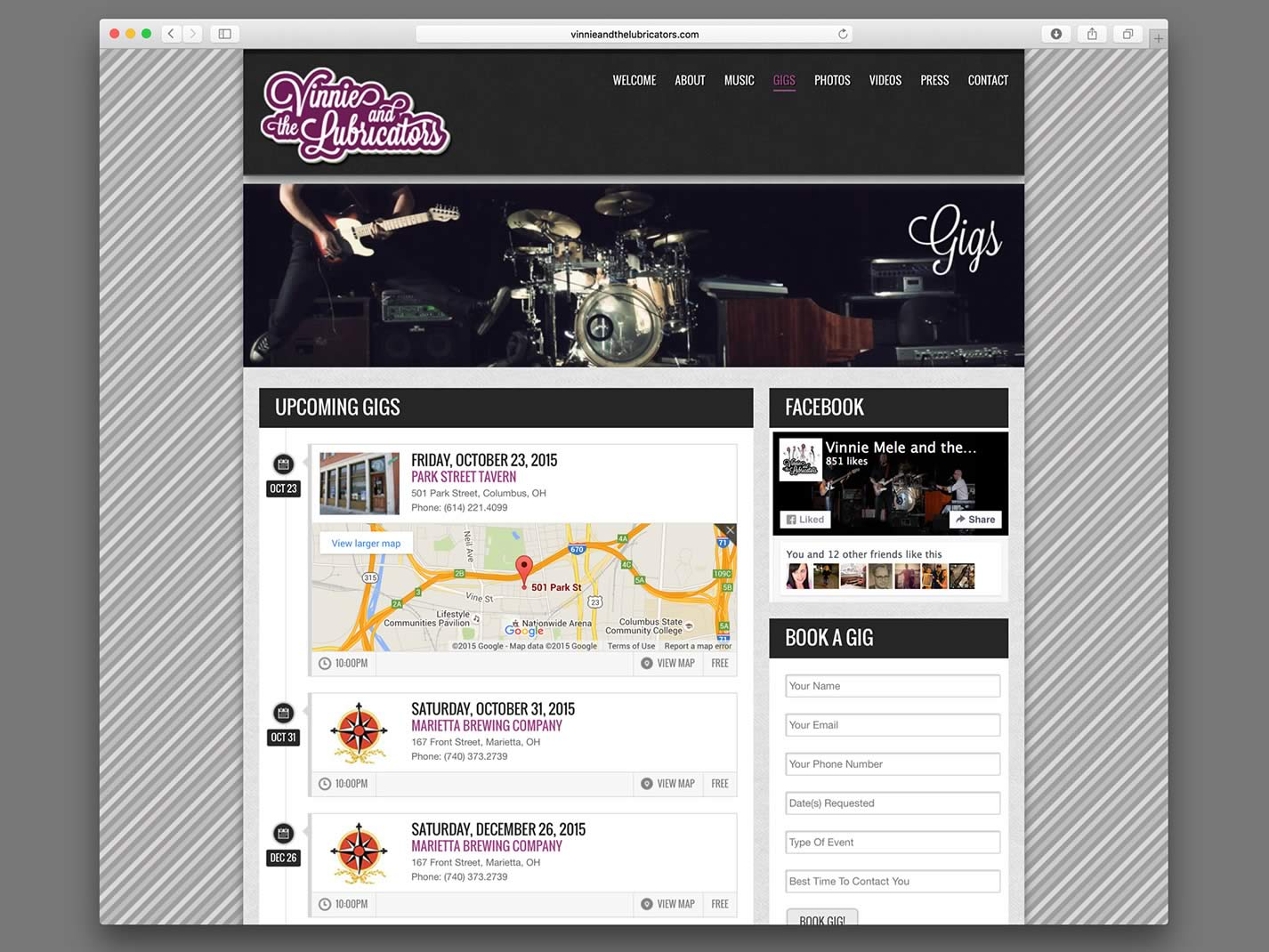 Vinnie and the Lubricators Website