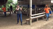 my turn at the blow dart gun