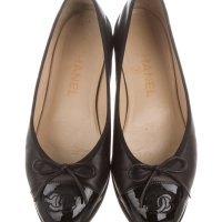Chanel Leather Cap-Toe Flats