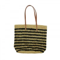 Pattered Rafia Tote with Leather Handles