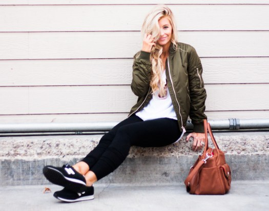 army green bomber   meg marie wallace   spring outfit