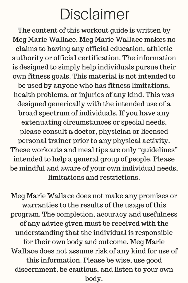 meg marie fitness body guide | disclaimer 2017