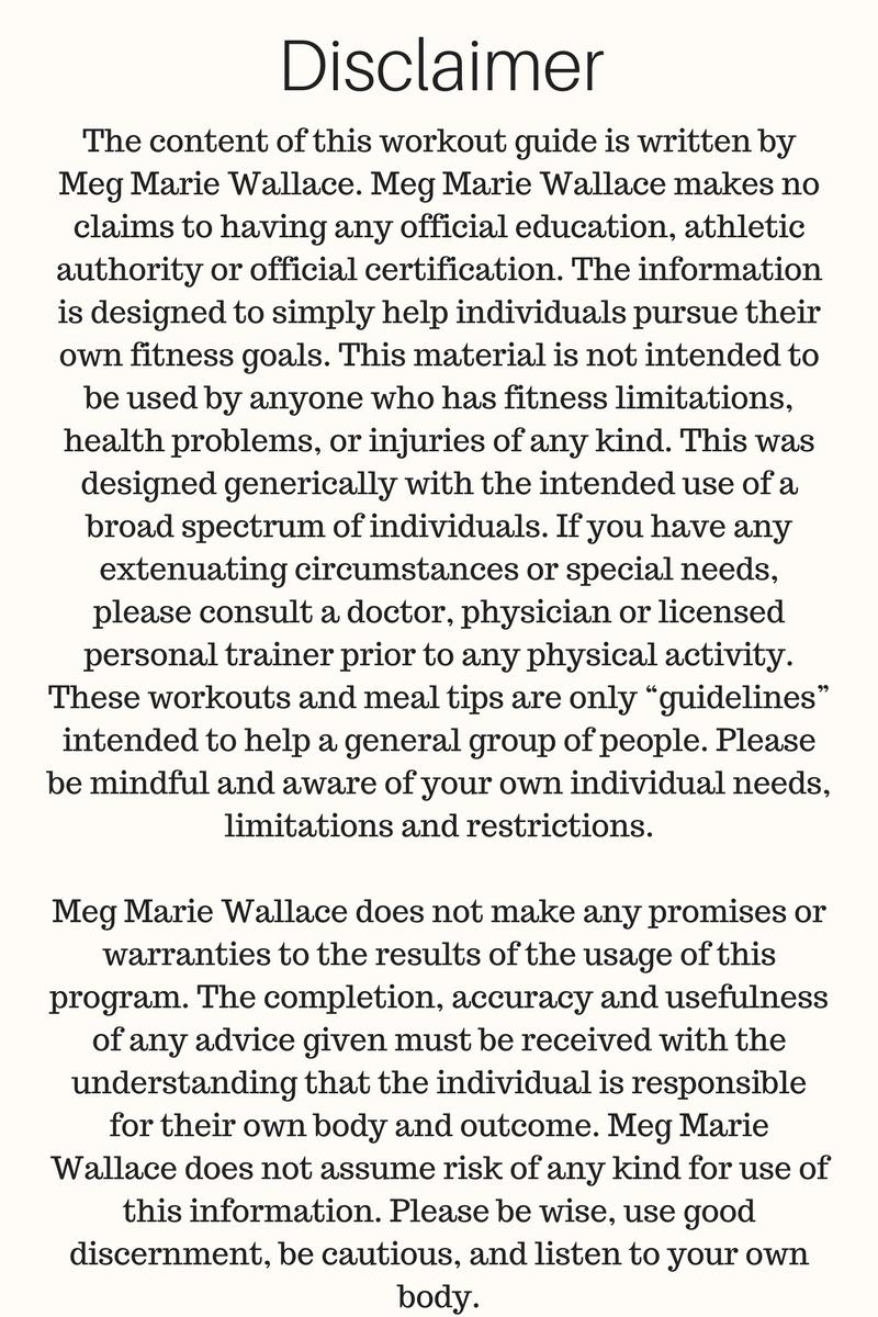 meg marie fitness body guide   disclaimer 2017