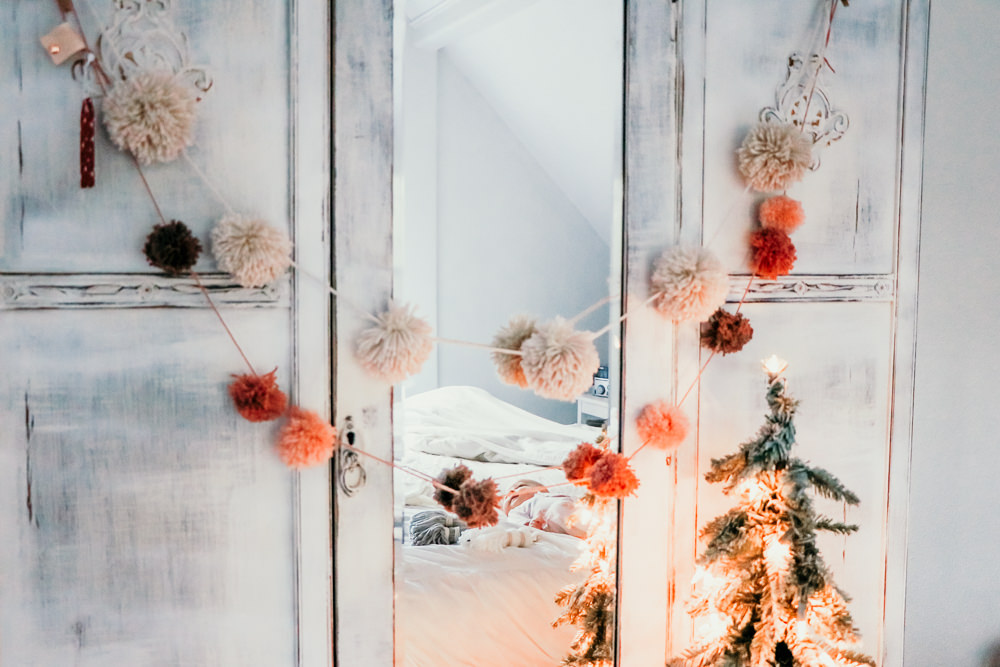 sugar plum pink pom garland | meg Marie Wallace | W6 Christmas Shop