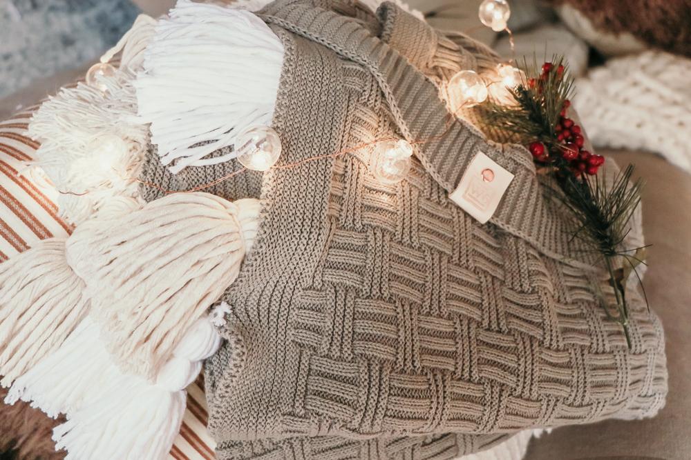 The Blitzen Medium Grey Sweater Pom Blanket   meg Marie Wallace   W6 Christmas Shop