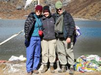 The three Musteteers at holy Lake Samiti, 13,000 ft.