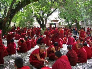 Monks debating at Sera Monastery