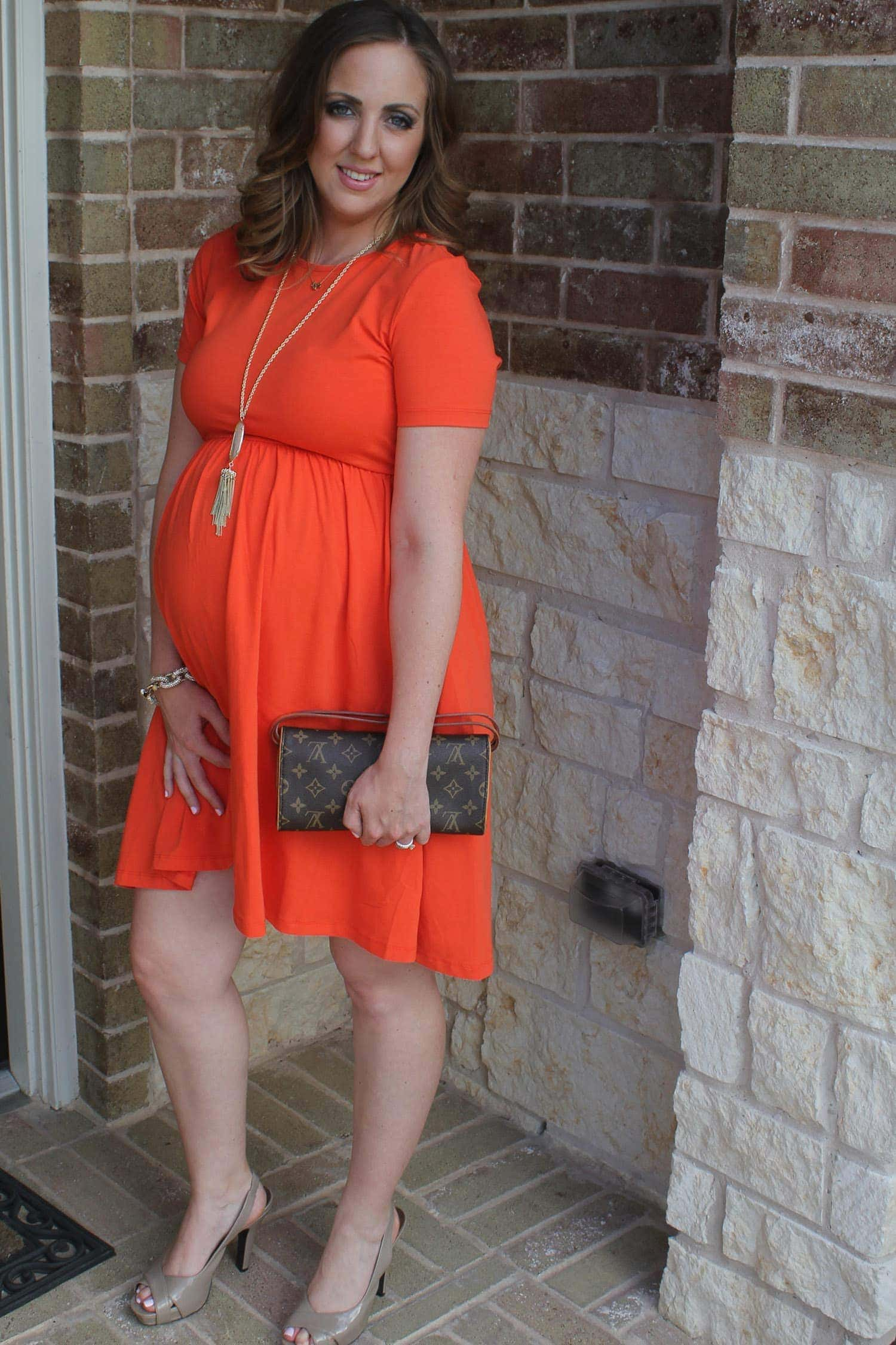 Third trimester maternity style dressed in orange dress asos co short necklace groopdealz long necklace kendra scott bracelet ebay i love a good j crew knockoff clutch louis vuitton i ombrellifo Gallery
