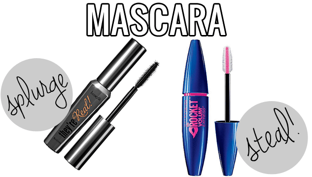 makeup dupes, Splurge vs Steal beauty mascara, Benefit They're Real vs. Maybelline Rocket, Benefit They're Real dupe