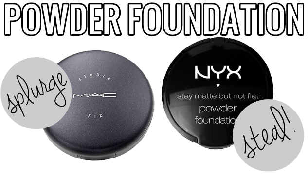makeup dupes, Splurge / Steal Beauty Powder Foundation, MAC Studio Fix v.s NYX Stay Matte but Not Flat, MAC Studio Fix dupe