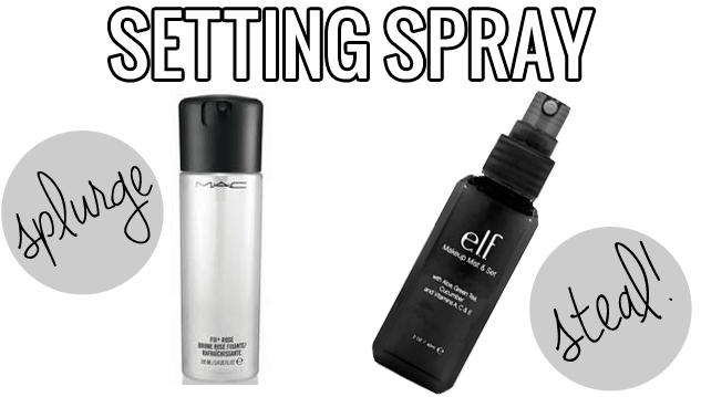 makeup dupes, Splurge steal beauty setting spray, Mac Fix Plus vs. ELF Makeup Mist and Set, MAC Fix Plus dupe