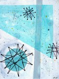 """Atomic Breakfast Acrylic on Canvas, 2001, 9"""" x 12"""" First in a trio of abstract paintings all inspired by the famous Franciscan Pottery atomic age turquoise starburst pattern. These studies focus on color and rendering techniques."""