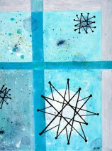 """Atomic Dinner Acrylic on Canvas, 2001, 9"""" x 12"""" Third in a trio of abstract paintings all inspired by the famous Franciscan Pottery atomic age turquoise starburst pattern. These studies focus on color and rendering techniques."""