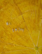 Mr. Smiley Acrylic, Pin Assemblage on Canvas Mary-Margaret Stratton, 2003 Yes, that is an authentic vintage smiley face pin from the 1970s. It was bought in the Wisconsin Dells on a cross country family driving trip in the summer of 1971. This is dedicated to my friend, Mr. Smiley, the man in San Francisco with the world's largest collection of smiley faces. I just hope he is happy?