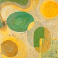 """Vitamin Plate Acrylic on Canvas, 2001, 18"""" x 18"""" The abstract circular and oblong shapes you see in the paintings are actually formed from traced outlines of real vintage 1950s Franciscan dishes. Remember... one creative dose a day will keep you happier and healthier!"""