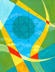 """Wheel in the Sky Acrylic on Canvas, 2001, 14"""" x 18"""" The style of this painting is decidedly more constrained and precise. The wheel in this sky is decorated with a Franciscan Pottery Starburst pattern and ironically refers back to the potter's wheel which gave inspiration for the painting."""