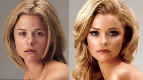 Imagen de una modelo antes y después del photoshop