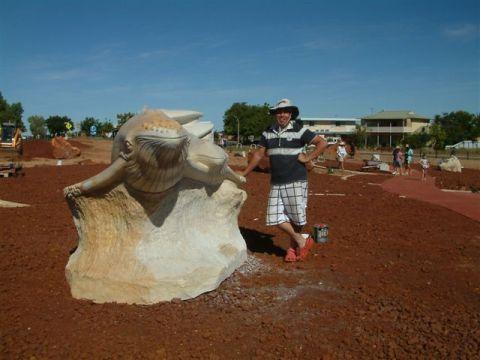 Mehdi Rasulle and his Samson Whale Sculpture