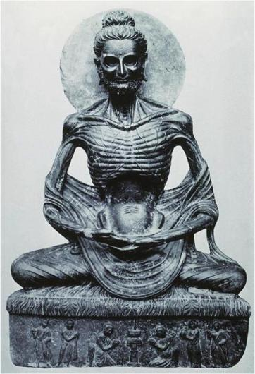 A statue of Buddha after the long fast.