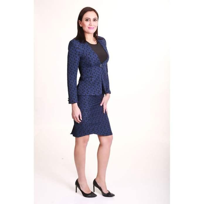 Takım Elbise Mavi Desenli