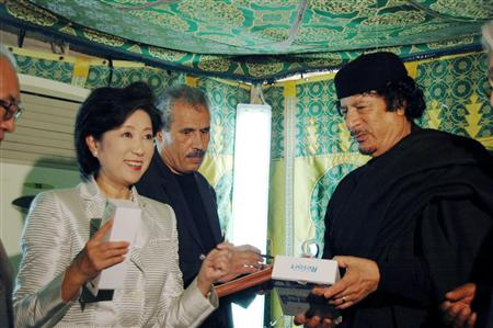Yuriko Koike, then-head of the Japan-Libya Friendship Association meets with Qadhafi in Libya in 1979