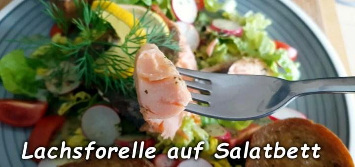 Lachsforelle auf Salatbett und Kräuterbaguette
