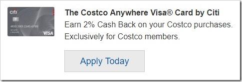 Costco 申请开通信用卡
