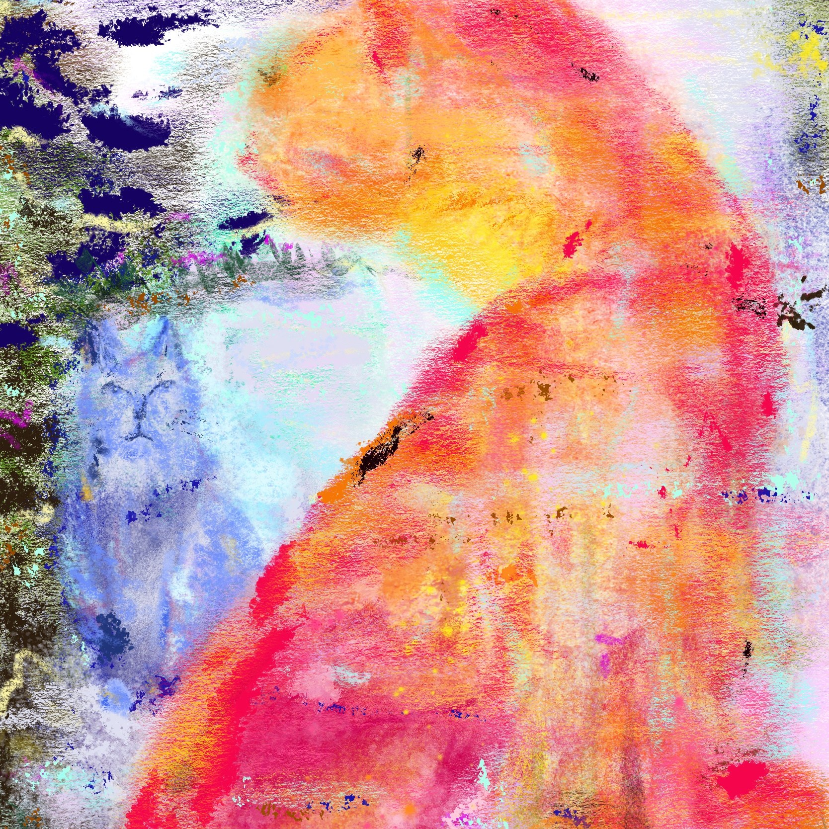 A pastel painting of abstract orange and blue cats