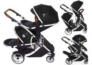 Kids Kargo Duellette 21 Bs Twin Double Pushchair Stroller Buggy (Dooglebug Black)