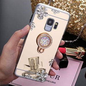 SainCat Coque pour Samsung Galaxy S6, Coque Miroir Silicone Paillette Strass avec Anneau Etui de Protection Anti-Rayures Ultra Slim Premium TPU Bumper Coque pour Samsung Galaxy S6-Or