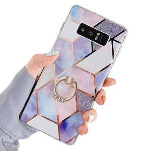 Saceebe Compatible avec Samsung Galaxy Note 8 Coque Silicone Motif Géométrique Marbre TPU Housse Etui Souple Coque avec Téléphone Anneau Bague Support Paillette Brillant Strass,Violet