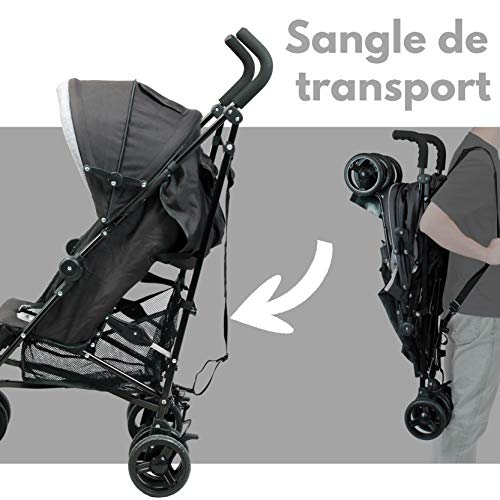 Looping - Poussette Canne Multipositions Confort - Assise 3 Positions, Grand Panier, Suspension (Noir Chiné)