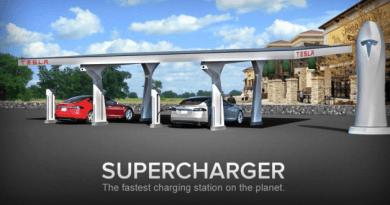 Die Ladestation mit dem Namen Supercharger von Tesla Motors kann das Elektroauto Model S in ca. 30 Minuten aufladen. Bildquelle: Tesla Motors