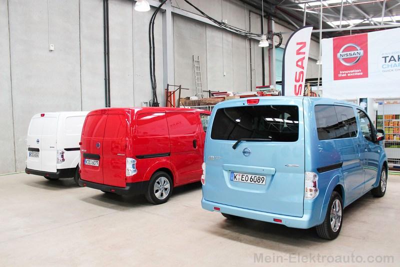 Elektroauto Nissan e-NV200 3 Farben nebeneinander