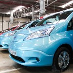 Electric car Nissan e-NV200 next to each other