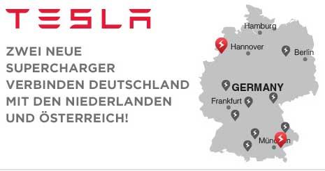 Dank 2 neuer Supercharger kann man mit dem Elektroauto problemlos zwischen Deutschland, Niederlande und Österreich fahren. Bildquelle: Tesla Motors