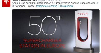 Am 12. August 2014 hat Tesla Motors getwittert, dass man bereits 50 Supercharger in Europa installiert hat. Bildquelle: Tesla Motors / Twitter