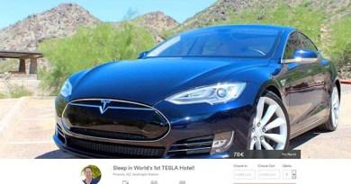 Das Elektroauto Tesla Model S wird sogar als Schlafplatz Angebote. Bildquelle: Screenshot Airbnb.com