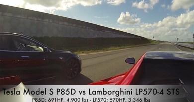 Elektroauto Tesla Model S P85D vs Lamborghini LP570-4. Bildquelle: Screenshot Youtube.com, User: DragTimes