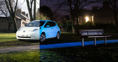 Was hier das Elektroauto Nissan Leaf erleuchten lässt, ist der Lack STARPATH. Bildquelle: Nissan