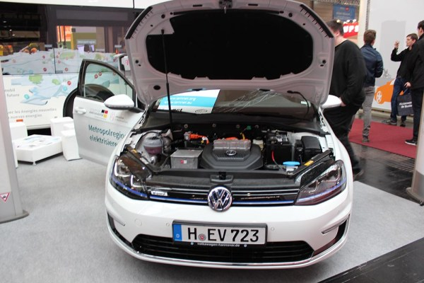 The electric car VW e-Golf on the Cebit.