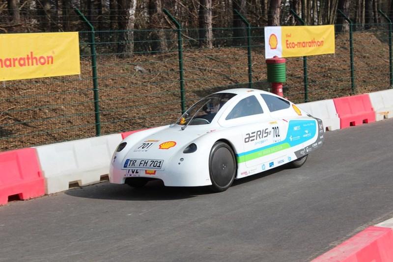 Elektroauto aeris von Team proTRon bei der Auftaktveranstaltung zum Shell Eco-Marathon