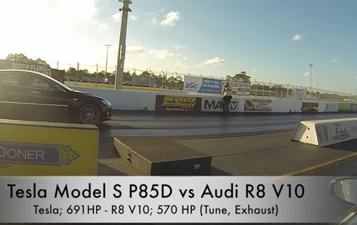 Elektroauto Tesla Model S P85D vs Audi R8. Bildquelle: DragTimes/Youtube
