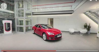Von dem Tesla-Store in Amsterdam gibt es nun ein 360 Video. Bildquelle: Tesla Motors / Youtube.com