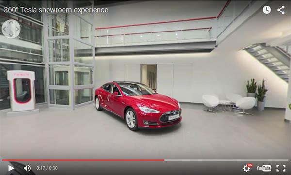 Von dem Tesla-Store in Amsterdam gibt es nun ein 360 Video. Bildquelle: Tesla Motors / Youtube.com