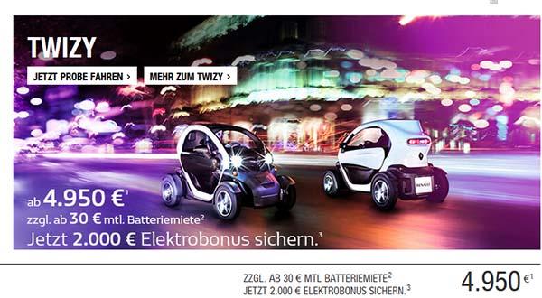 das elektroauto renault twizy gibt es dank elektrobonus 2. Black Bedroom Furniture Sets. Home Design Ideas