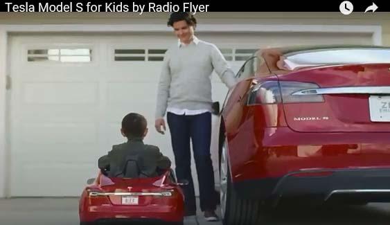 Das Elektroauto Tesla Model S gibt es nun auch für Kinder. Bildquelle: Screenshot Produktvideo von Radio Flyer / Youtube.com
