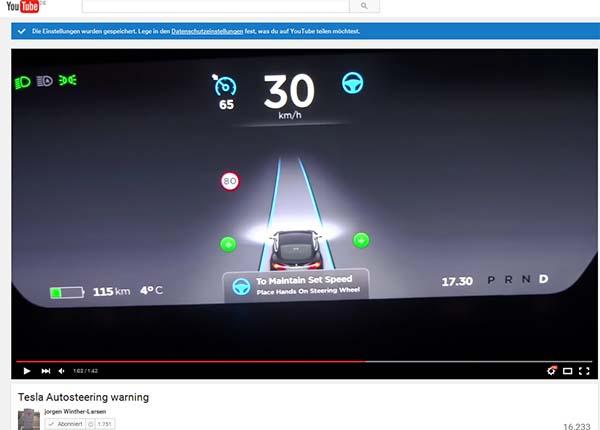 """Wenn der Autopilot beim Elektroauto Tesla Model S aktiviert ist und der Mensch nicht mehr reagiert, bremst der Bordcomputer das Fahrzeug langsam ab und aktiviert die Warnblinker. So bleibt der PKW sicher stehen... Bildquelle: Screenshot vom Youtube-Video """" Tesla Autosteering warning """", Kanal: jorgen Winther-Larsen"""